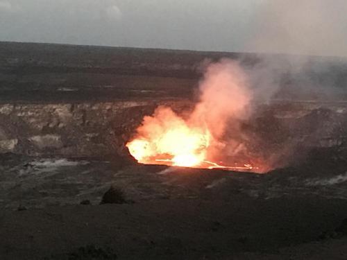 volcano at night